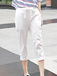 Mulheres Calças Simples Saruel Linho Sem Elasticidade Mulheres