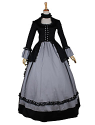 One-Piece/Dress Gothic Lolita Steampunk® / Victorian Cosplay Lolita Dress Black Solid Long Sleeve Long Length Dress For WomenSatin / Lace