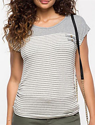Damen Gestreift Einfach Lässig/Alltäglich T-shirt,Rundhalsausschnitt Sommer / Herbst Kurzarm Grau Polyester Mittel