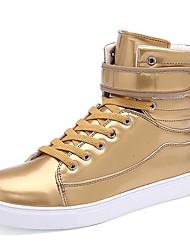 Unisex-Sneaker-Lässig Sportlich-Lackleder-Flacher Absatz-Komfort-Silber Gold