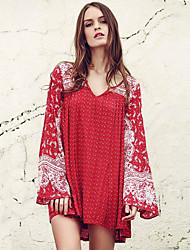Mulheres Solto Vestido,Casual / Férias Boho Estampado Cashemere Decote V Mini Manga Longa Vermelho Algodão / Poliéster Outono