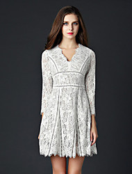 DREAMY LAND  Women's Going out Sexy Dress,Solid V Neck Above Knee ¾ Sleeve White / Black Others Spring