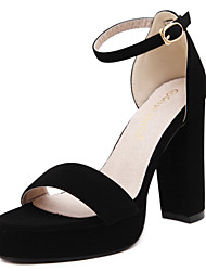 Women's Sandals Open Toe Fleece Platform Shoes Ankle Strap Buckle Chunky Hollow-out Heels with Black Colors