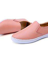 Unisex Loafers & Slip-Ons Spring / Fall Comfort Cowhide Casual Flat Heel Slip-on Black / Pink / White Walking
