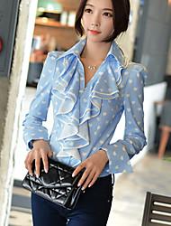 DABUWAWA® Damen Hemdkragen Lange Ärmel Shirt & Bluse Hellblau-D15CST061