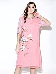 i-yecho Frauen einfachen Blumen loses Kleid, Rundhals knielangen Polyester
