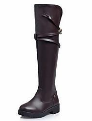 Women's Boots Winter Fashion Boots Leatherette Dress Casual Party & Evening Low Heel Others Black Brown