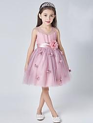 A-line Knee-length Flower Girl Dress - Tulle Sleeveless Scoop with Flower(s)