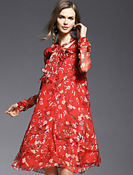 JOJO HANS  Women's Going out Sexy / Cute Sheath Dress,Floral V Neck Knee-length Long Sleeve Red Silk Spring
