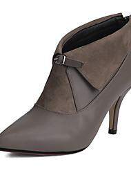 Damen-Stiefel-Büro Kleid Party & Festivität-Vlies Kunstleder-Stöckelabsatz-Modische Stiefel-Schwarz Grau