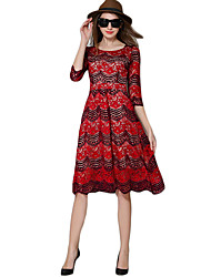Women's Casual/Daily Simple Sheath Dress,Floral Round Neck Knee-length ½ Length Sleeve Red Polyester Summer