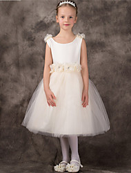 Ball Gown Tea-length Flower Girl Dress - Tulle Sleeveless Jewel with Flower(s)