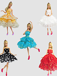 Party/Evening Dresses For Barbie Doll Red / Golden / White / Black / Blue Lace Dresses For Girl's Doll Toy