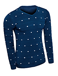 Men's Polka Dot Casual Pullover,Wool Long Sleeve Black / Blue / Red