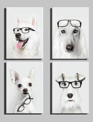 E-HOME® Stretched Canvas Art Glasses And Dogs Decoration Painting  Set of 4
