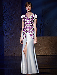 Sheath / Column V-neck Floor Length Satin Charmeuse Formal Evening Dress with Appliques Embroidery Split Front