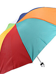 Creative Rainbow Umbrella Portable Seventy Percent Off Silver Plastic Umbrella