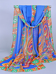 Women's Chiffon India Totem Print Scarf Royal Blue/Purple/White/Blue/Orange/Fuchsia