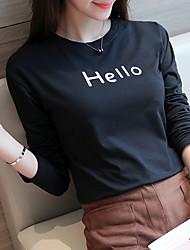 Tee-shirt Aux femmes,Couleur Pleine / Lettre Sortie / Décontracté / Quotidien simple Automne Manches Longues Col ArrondiBlanc / Noir /