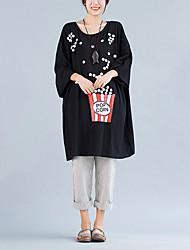Damen Druck Einfach Lässig/Alltäglich T-shirt,Rundhalsausschnitt Herbst Langarm Schwarz Baumwolle Mittel