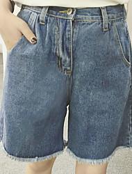 Pantalon Aux femmes Short / Jeans simple Coton Micro-élastique