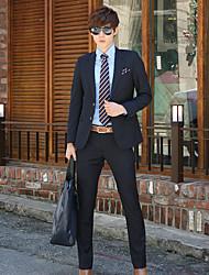 Men's Solid Work Set,Cotton Long Sleeve Multi-color
