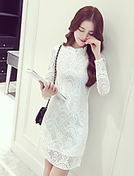 Women's Going out Simple Bodycon Dress,Solid Stand Knee-length Long Sleeve White Polyester Spring / Fall