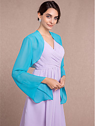 Women's Wrap Shrugs Long Sleeve Chiffon Pool Wedding / Party/Evening Scoop Scales Open Front