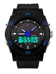 Men's Black Case Silicone Band Analog-Digital Watch