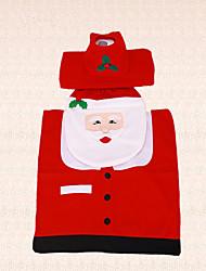 3шт новый год крышка Рождество Санта-Клаус рыбий глаз сиденье для унитаза и крышка бака ковер ванной крытый декор