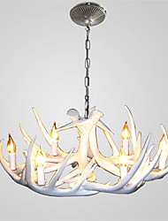 Vintage Antler Chandelier Lighting 6-Lights Easy Installation Resin Materials