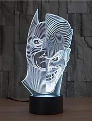 Dos Caras toque de regulación 3d llevó la luz de la noche de la lámpara de la decoración ambiente 7colorful de iluminación novedoso luz de