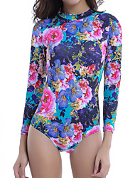 Womens Floral Pattern Long Sleeve Surf Board Swimsuit