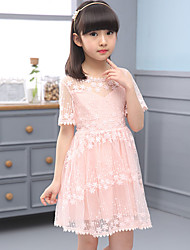 A-line Knee-length Flower Girl Dress - Tulle / Polyester Short Sleeve Jewel with Embroidery