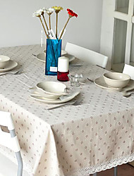 Floral  Rectanglar Coffee Tablecloth Marguerite Decorative Cotton Linen Macrame Table Cover for Kitchen Dinning Room