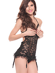 Women Lace Lingerie Nightwear,Lace Jacquard-Thin Lace Black Women's