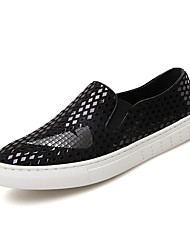 Herren-Sneaker-Lässig-Leder-Flacher Absatz-Komfort-Silber Gold