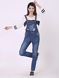 Women's Embroidered Blue Jumpsuits,Vintage Strap Sleeveless
