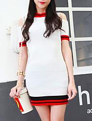 Mulheres Tricô Vestido,Casual Moda de Rua Color Block Decote Redondo Mini Manga Curta Vermelho / Branco / Preto / Cinza AlgodãoTodas as
