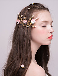 MISS DIVA Women's Imitation Pearl Headpiece  Hair Clip 2 Pieces Pink Flower 52