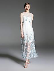 es.dannuo mulheres que saem do balanço vestido sexy, bordado pescoço midi rodada sem mangas azul / verão de poliéster branco