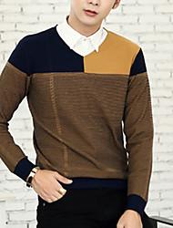 Herren Pullover-Lässig/Alltäglich Einfarbig Langarm Baumwolle