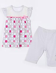 Mädchen Kleidungs Set-Lässig/Alltäglich Schottenmuster Baumwolle Sommer Grau