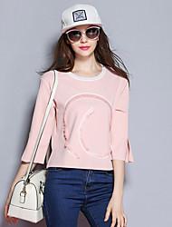 Sybel Frauen Ausgehen / Herbst-T-Shirt drucken Rundhals ¾ Ärmel blau / rosa Polyester / Spandex-Medium