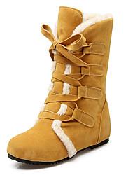 Feminino-Botas-Botas de Neve Botas da Moda-Salto Baixo-Preto Amarelo Bege-Flanelado Pêlo-Escritório & Trabalho Social Casual