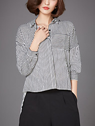 Women's Plus Size Street chic Fall Short in Front Long Loose Thin Shirt,Striped Shirt Collar Long Sleeve White / Black
