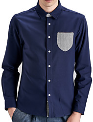 Men's Solid Casual / Work / Formal / Sport / Plus Size Shirt,Cotton Long Sleeve Blue / Red / White