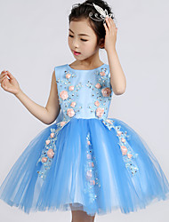 AMGAM Ball Gown Knee-length Flower Girl Dress - Tulle Jewel with Flower(s)