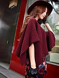 dabuwawa mulheres saindo / casual / feriado do vintage / punk / pullover regular, sofisticado, comprimento neck½ rodada