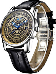 BOS® Men's Watch 3D Three-Dimensional Sculpture Of The Mayan Calendar Dial Automatic Mechanical Watches Personality Male Table